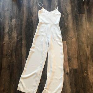 Cream jumpsuit wide leg pant